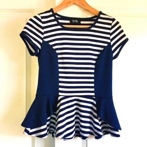by & by Blue and White Striped Peplum Top Small